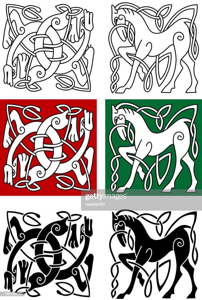 Celtic horse and abstract monster