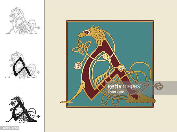 celtic initial: letter a with animal and endless knots - book of kells stock illustrations