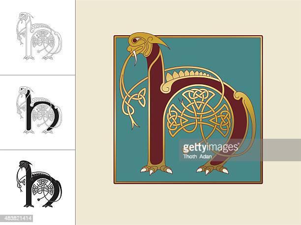 keltische initiale: buchstabe h mit tier und endloser knoten - book of kells stock-grafiken, -clipart, -cartoons und -symbole