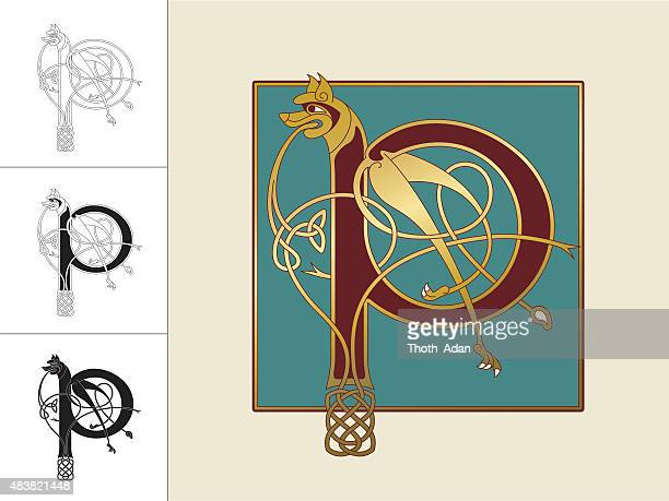 celtic initial: letter p with animal and endless knots - book of kells stock illustrations