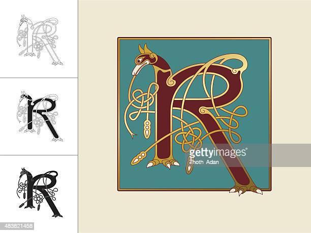 keltische initiale: buchstabe r mit tier und endloser knoten - book of kells stock-grafiken, -clipart, -cartoons und -symbole