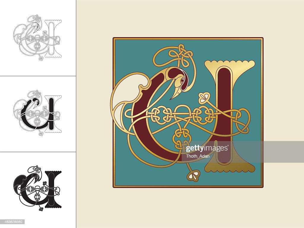 Celtic initial: letter U with animal and endless knots
