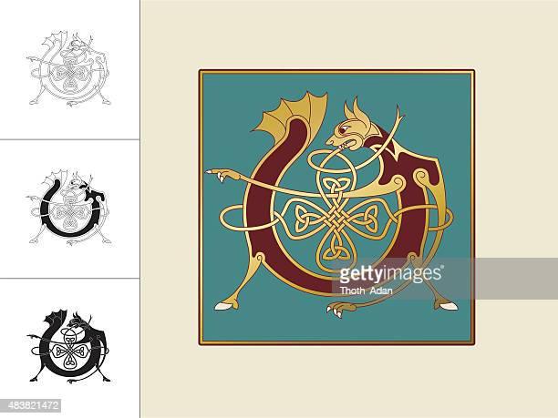 keltische initiale: buchstabe v mit tier und endloser knoten - book of kells stock-grafiken, -clipart, -cartoons und -symbole