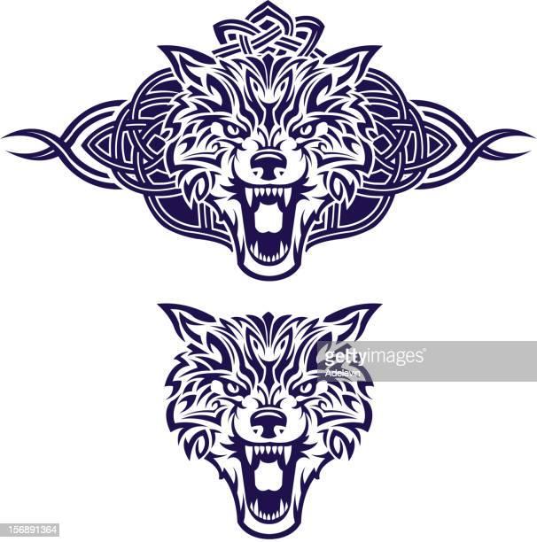 ilustrações de stock, clip art, desenhos animados e ícones de celta king lobo - lobisomem