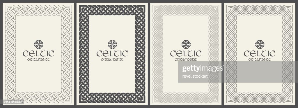 Celtic knot braided frame border ornament. A4 size