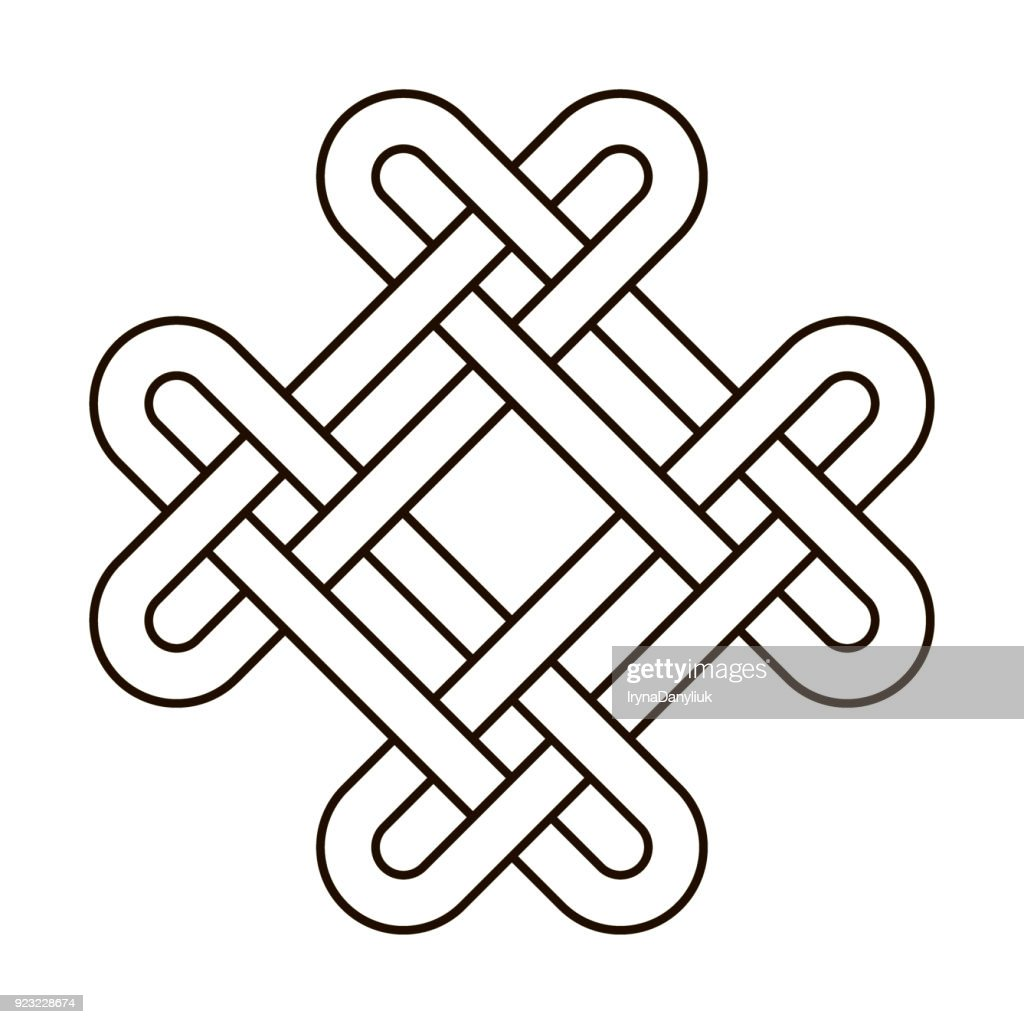 Celtic knot geometric ancient cross tribal vector knotted icon illustration. Knot work gaelic tattoo knotty ornament. Geometrical black knit
