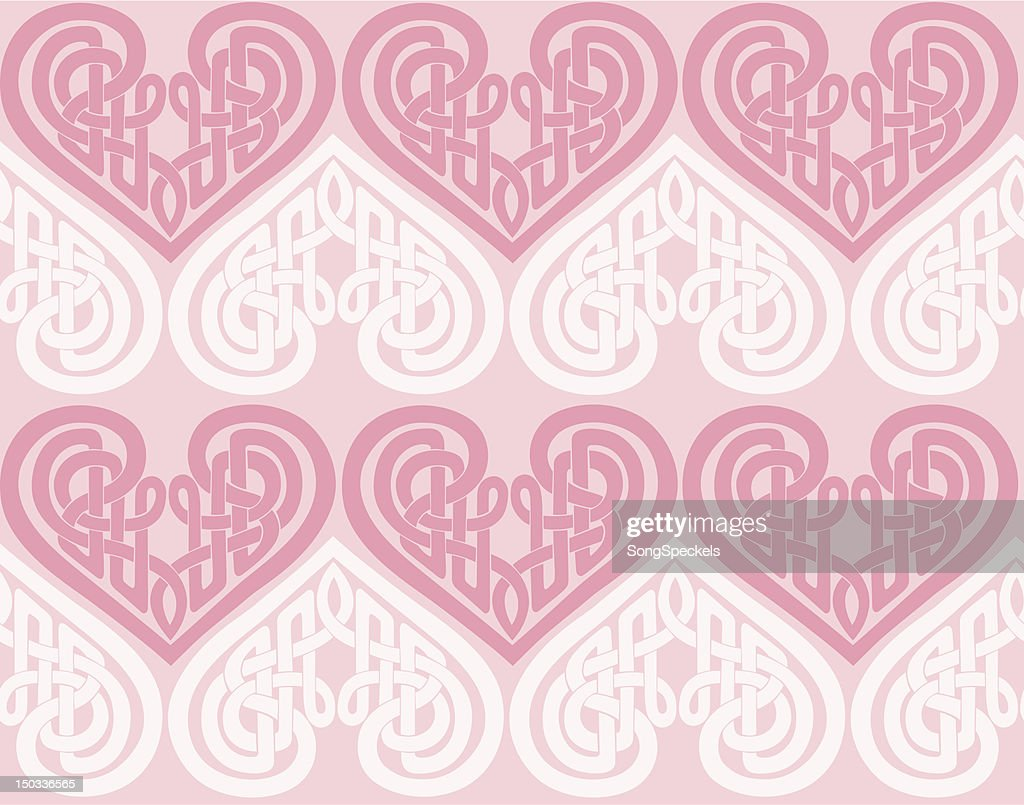 Celtic knot heart seamless pattern