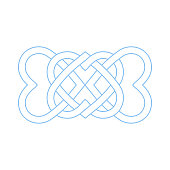 Celtic knot made made of four heart shapes. Basic vector ornate material.