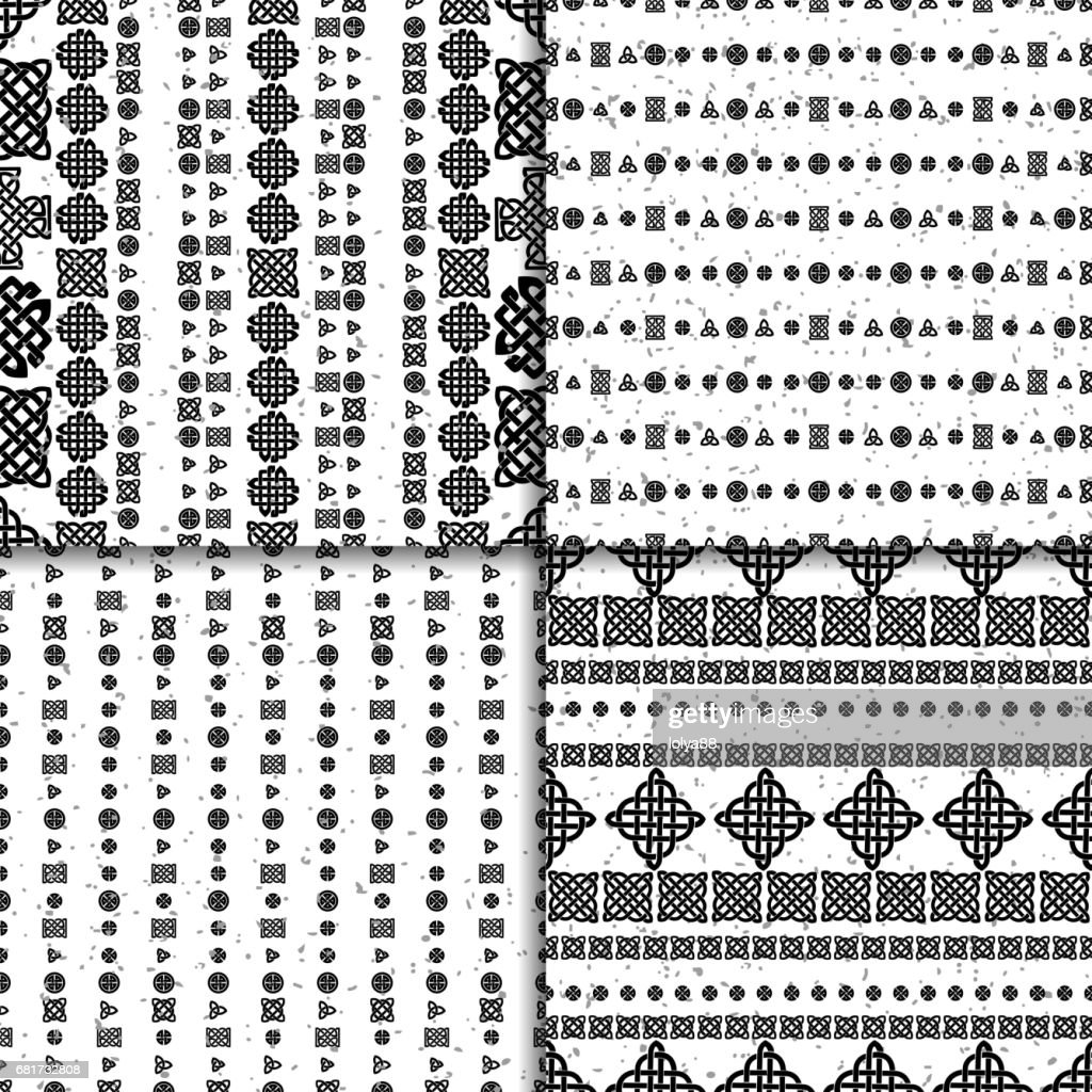 Celtic knot seamless pattern set