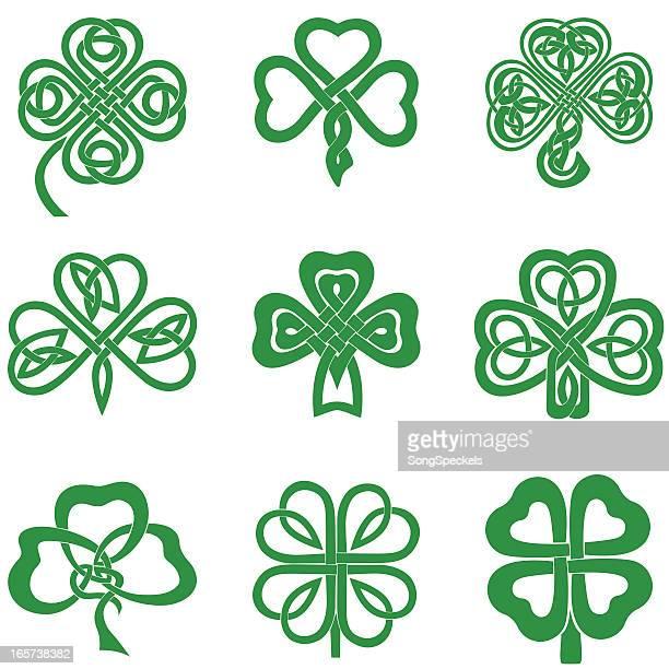 celtic knot shamrocks - irish culture stock illustrations