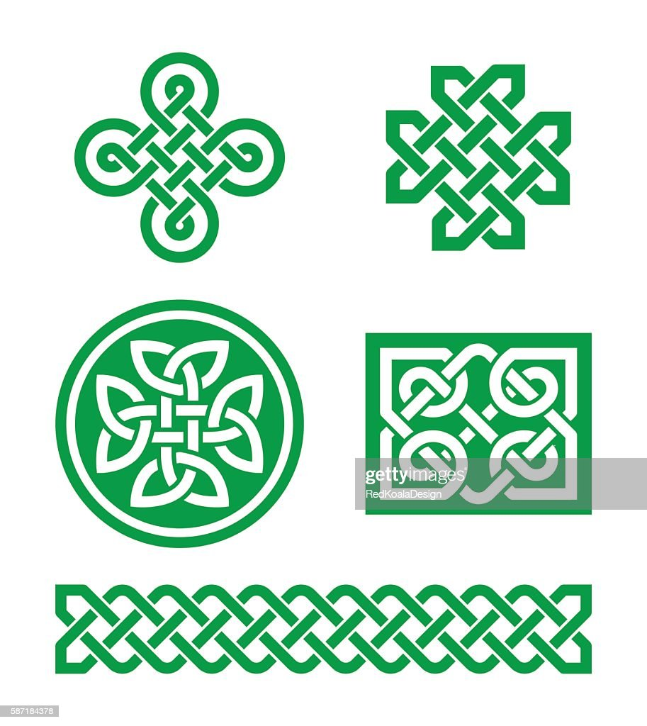 Celtic knots, braid green patterns - St Patrick's Day