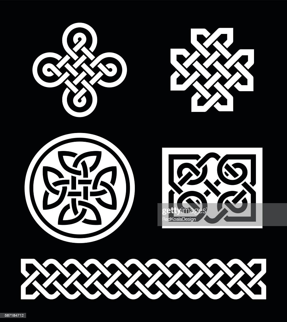 Celtic knots patterns on black background - vector
