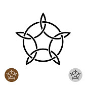 Celtic like style linear star with circle symbol