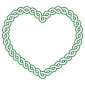 Celtic pattern green heart shape