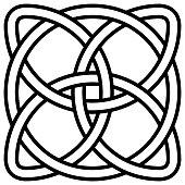 Celtic shamrock knot in circle symbol Ireland, vector symbol symbol of infinity, longevity and health