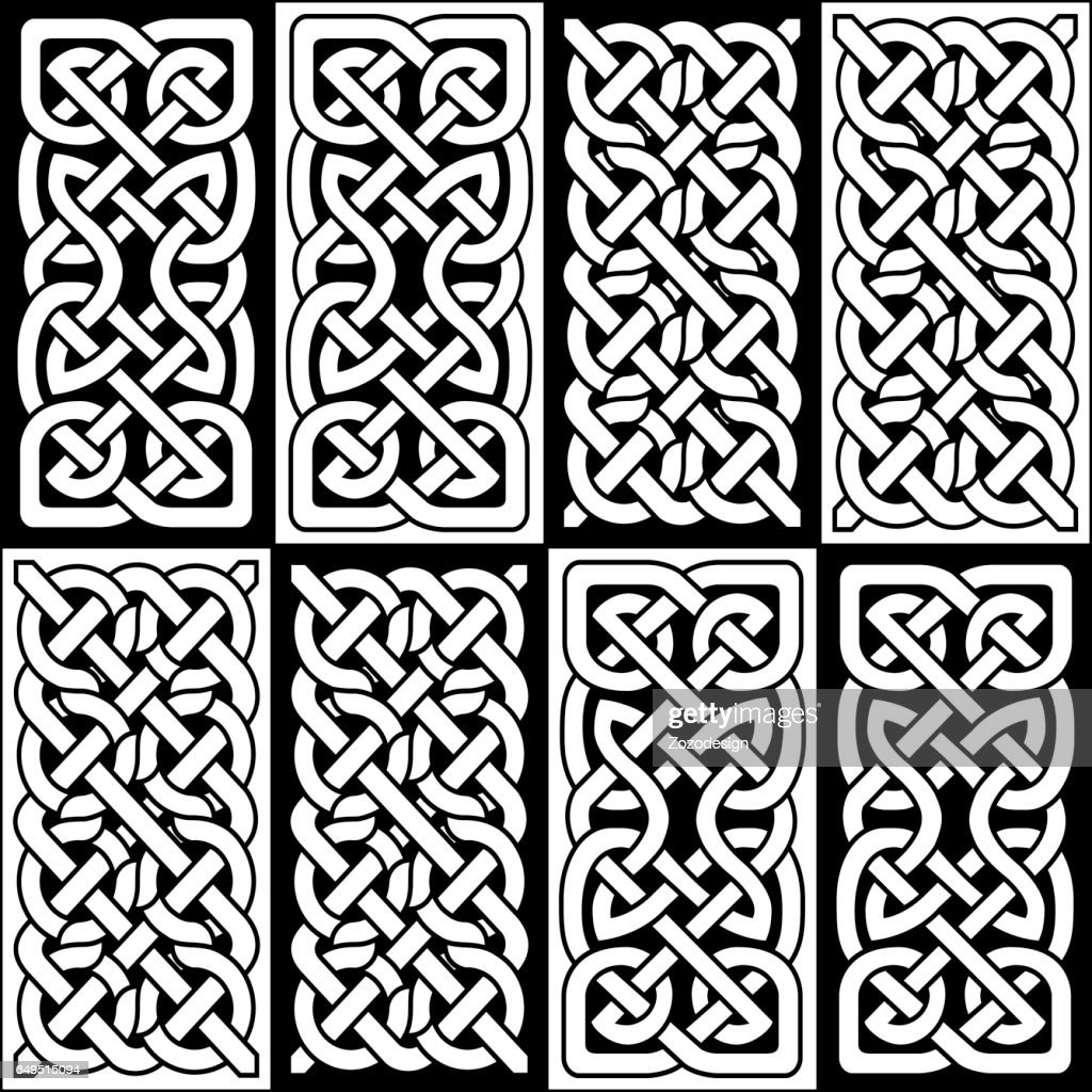 Celtic style endless knot rectangle symbols in white and black semales tile inspired by Irish St Patrick's Day, and Irish and Scottish carving art