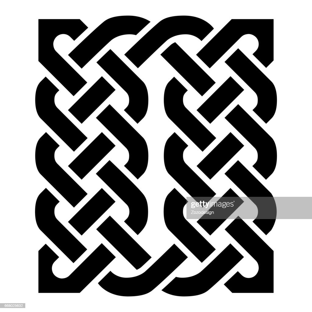 Celtic style rectangle based on eternity knot patterns in black on white background  inspired by Irish St Patrick's Day, and Irish and Scottish carving art