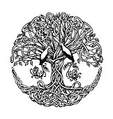 Celtic tree with birds of paradise. Graphic arts, dotwork