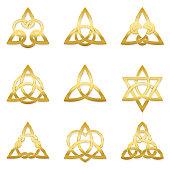 Celtic triangle knots. Nine golden symbols used for decoration or golden pendants. Varieties of endless basket weave knots.