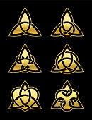 Celtic triangle knots. Six golden symbols used for decoration or golden pendants. Varieties of endless basket weave knots. Vector illustration on black background.