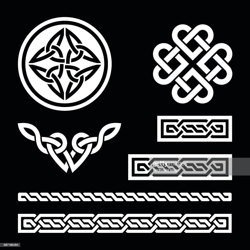 Celtic white knots, braids and patterns on black background