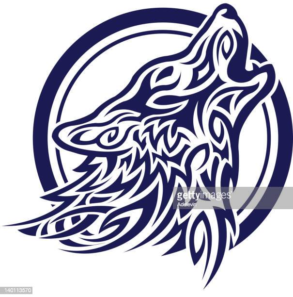 celtic wolf tatoo - howling stock illustrations, clip art, cartoons, & icons