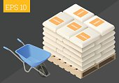 cement sack and wheelbarrow