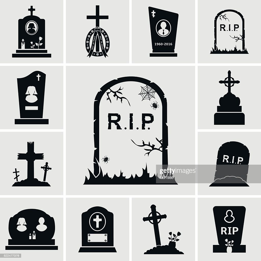 Cemetery crosses and gravestones icons set
