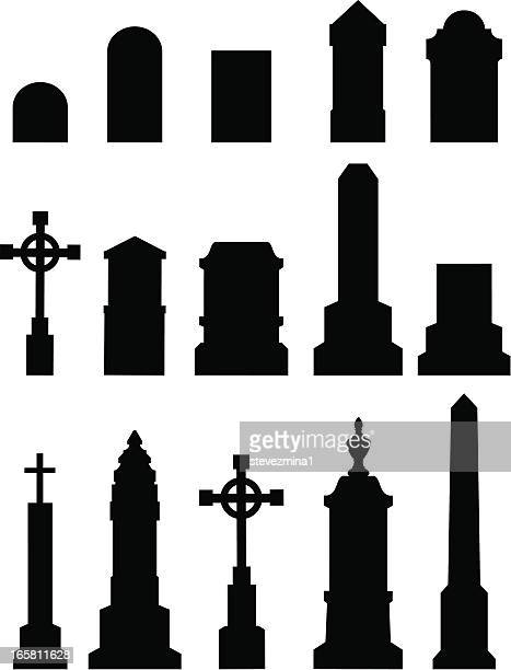 cemetery tombstone silhouettes - grave stock illustrations, clip art, cartoons, & icons