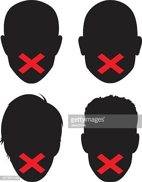 censorship faces - identity politics stock illustrations