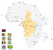 Central Africa map with flags