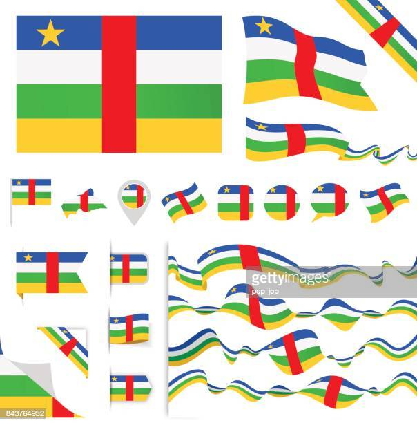 central african republic flag set - politics and government stock illustrations, clip art, cartoons, & icons