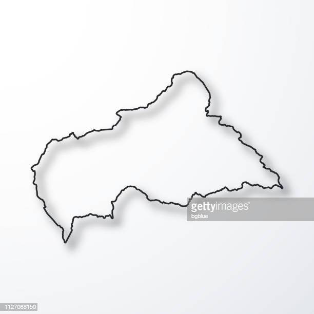 Carte de la République centrafricaine - contour noir avec ombre, fond blanc