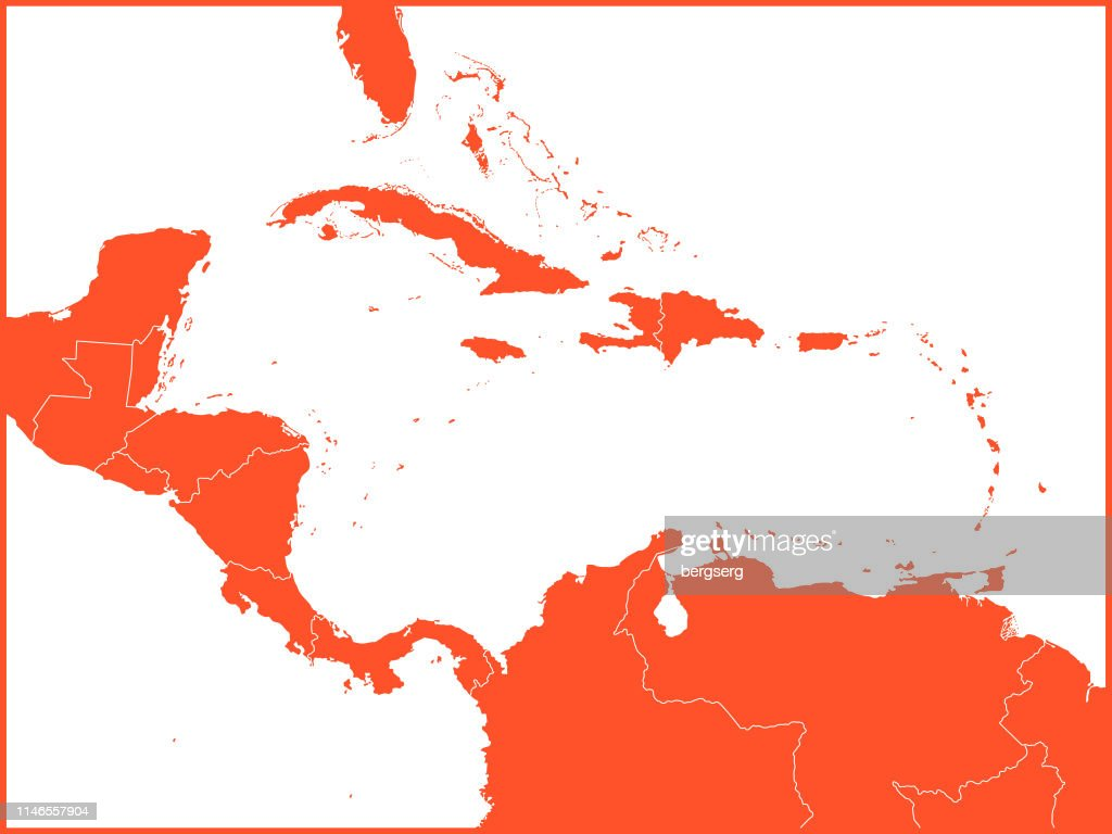 Central America And The Caribbean Map Vector Illustration With ...