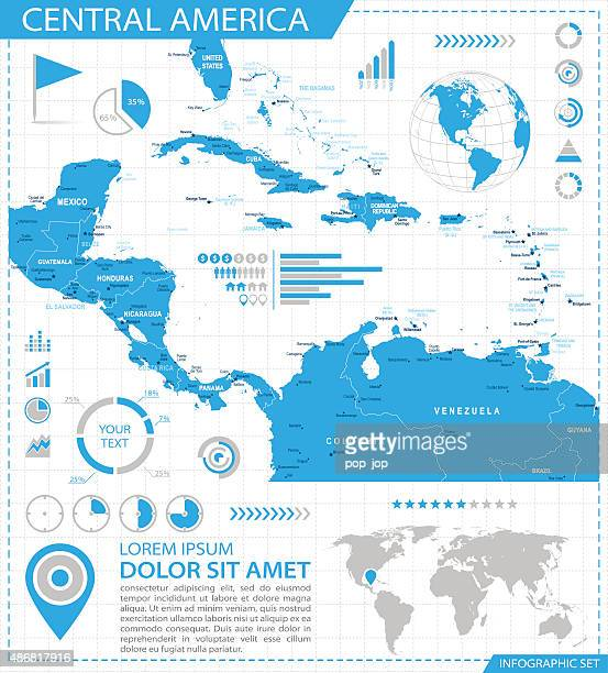 central america - infographic map - illustration - central america stock illustrations, clip art, cartoons, & icons