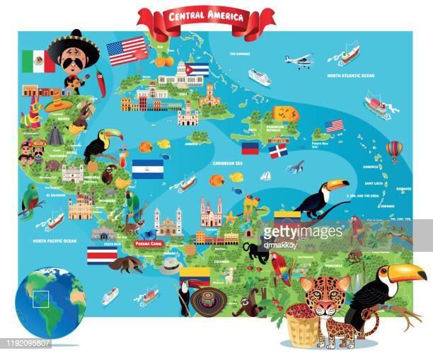 ilustraciones, imágenes clip art, dibujos animados e iconos de stock de centroamérica, kingston, san salvador, príncipe de puerto,santo domingo,san josé,ciudad de panamá, ciudad de guatemala, tegucigalpa, belmopan,managua, la habana, ciudad de méxico , nassau , san juan - el salvador