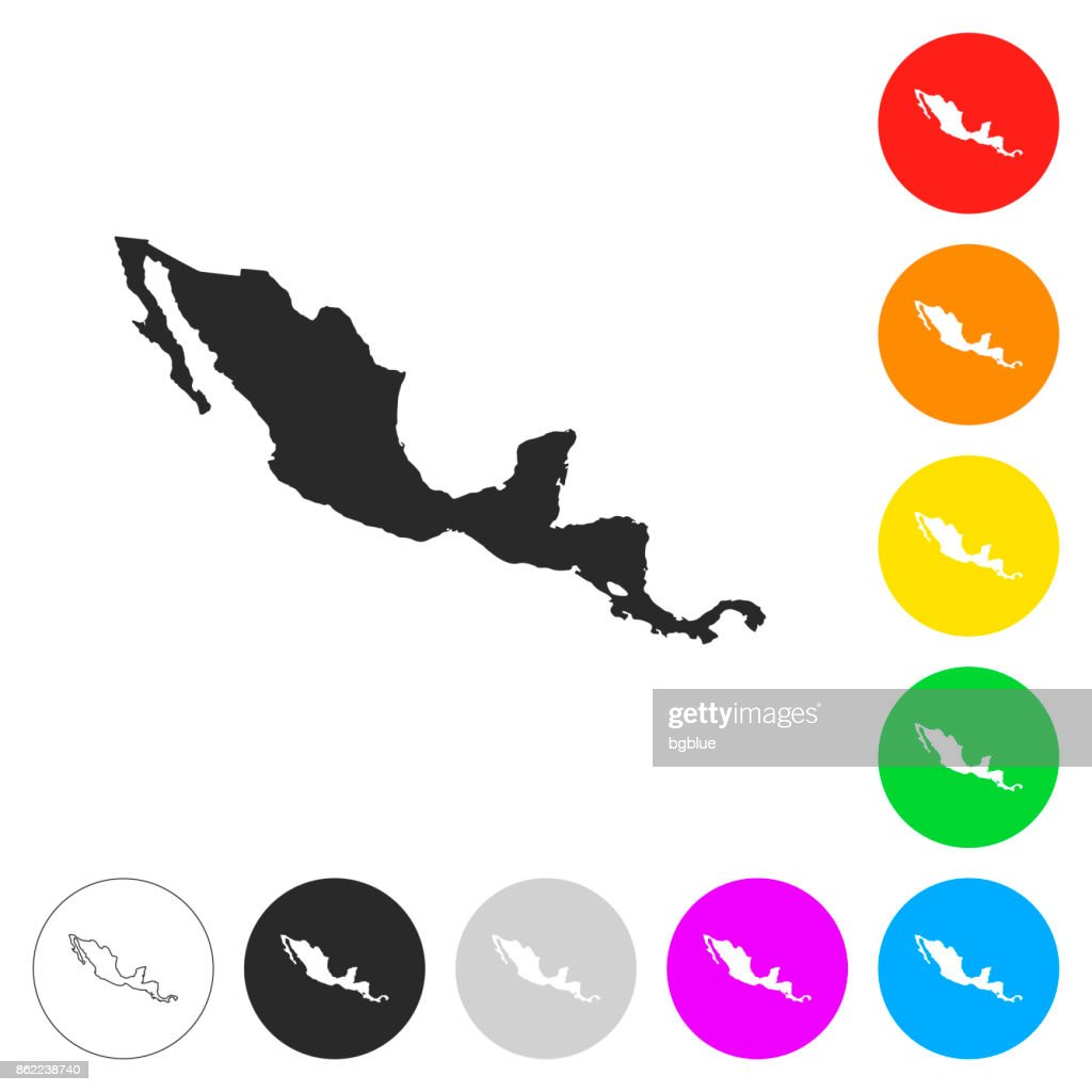 Central America Map Flat Icons On Different Color Buttons Vector Art ...