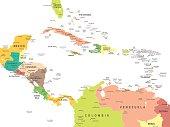 Central America - map - illustration