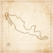 Central America map in retro vintage style - old textured paper