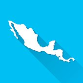 Central America Map on Blue Background, Long Shadow, Flat Design