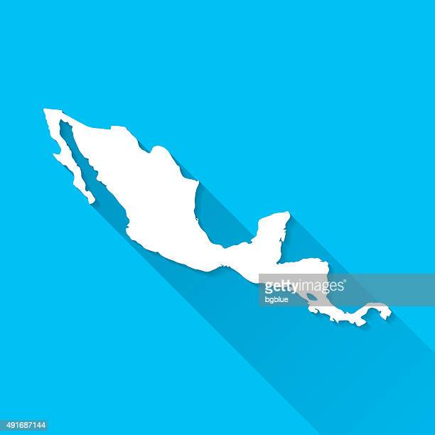 central america map on blue background, long shadow, flat design - central america stock illustrations, clip art, cartoons, & icons