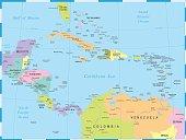 Central America Map - Vector Illustration