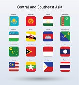 Central and Southeast Asia Square Icons Flags Collection