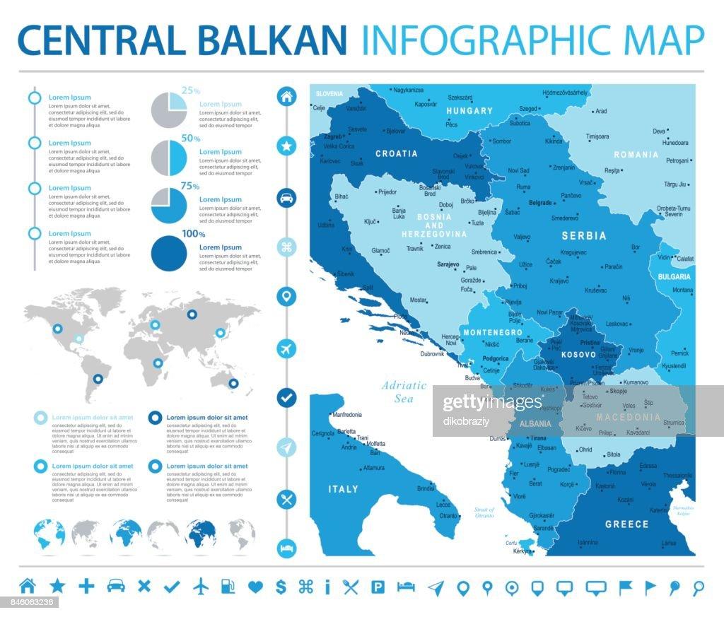 Central Balkan Map - Info Graphic Vector Illustration