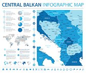 Central Balkan Map - Info Graphic Vector Illustration