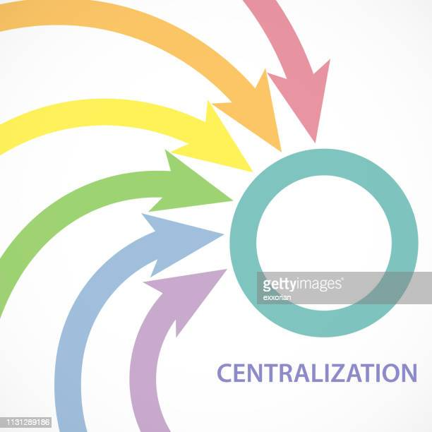 centralization at arrow series - co ordination stock illustrations