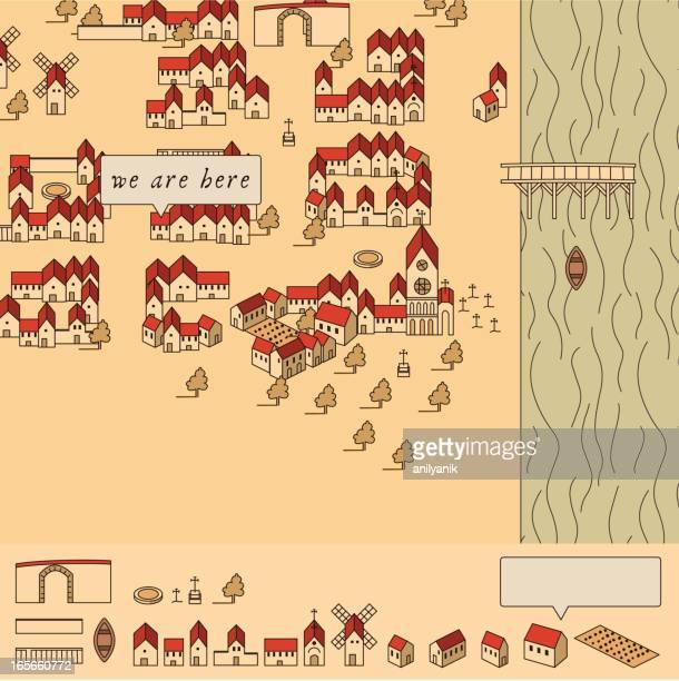 illustrations, cliparts, dessins animés et icônes de 16. siècle plan de la boîte à outils. - village