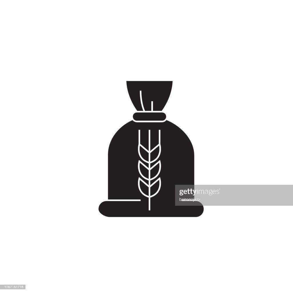 Ceral bag black vector concept icon. Ceral bag flat illustration, sign