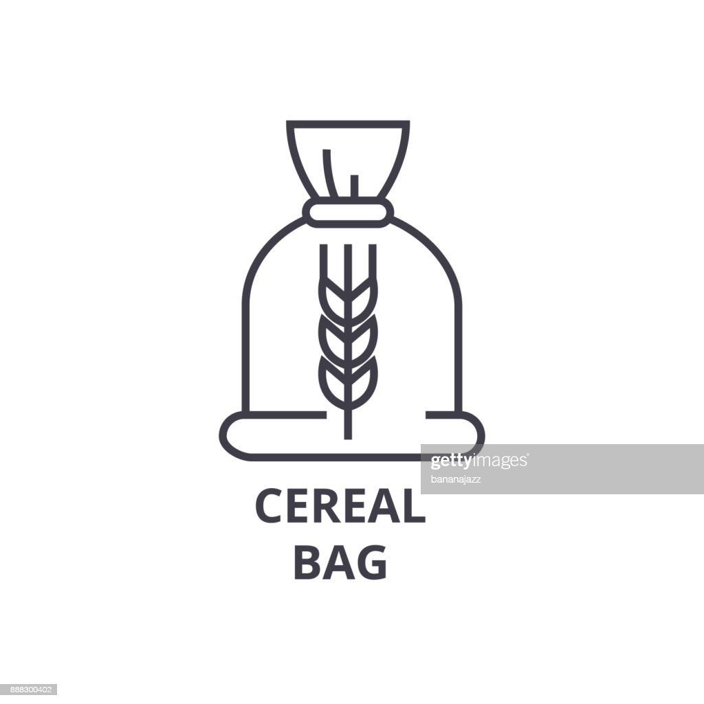 ceral bag line icon, outline sign, linear symbol, vector, flat illustration