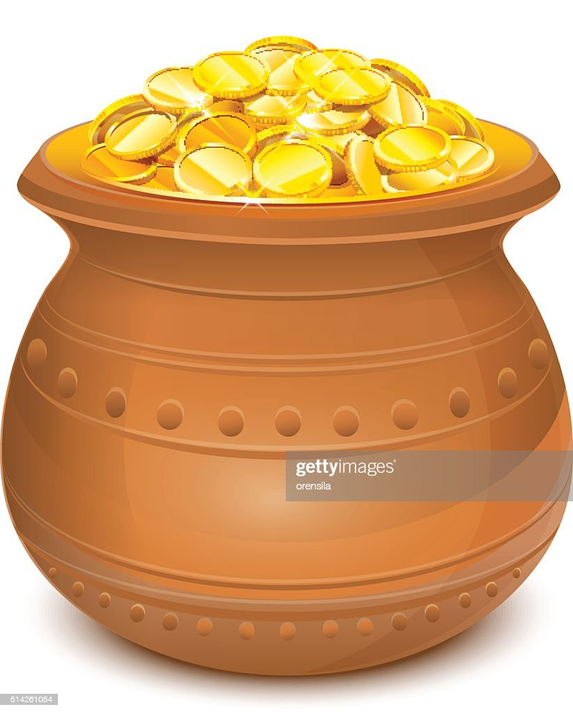Ceramic pot with gold coins
